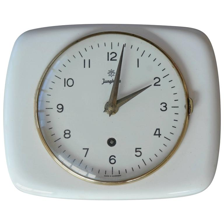 Junghans Max Bill Designed Mid Century Mechanical Wall Clock For Sale