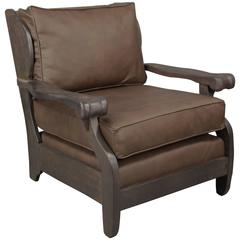 Signed Monterey Armchair with Leather Upholstery