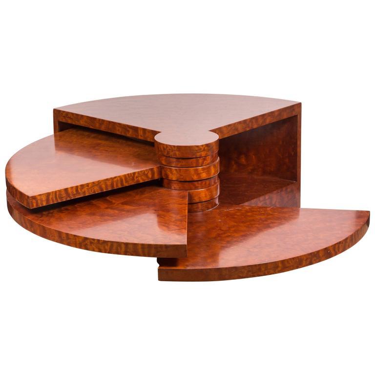 """Rare Burl Wood """"Fan"""" Coffee Table by Pierre Cardin For Sale"""