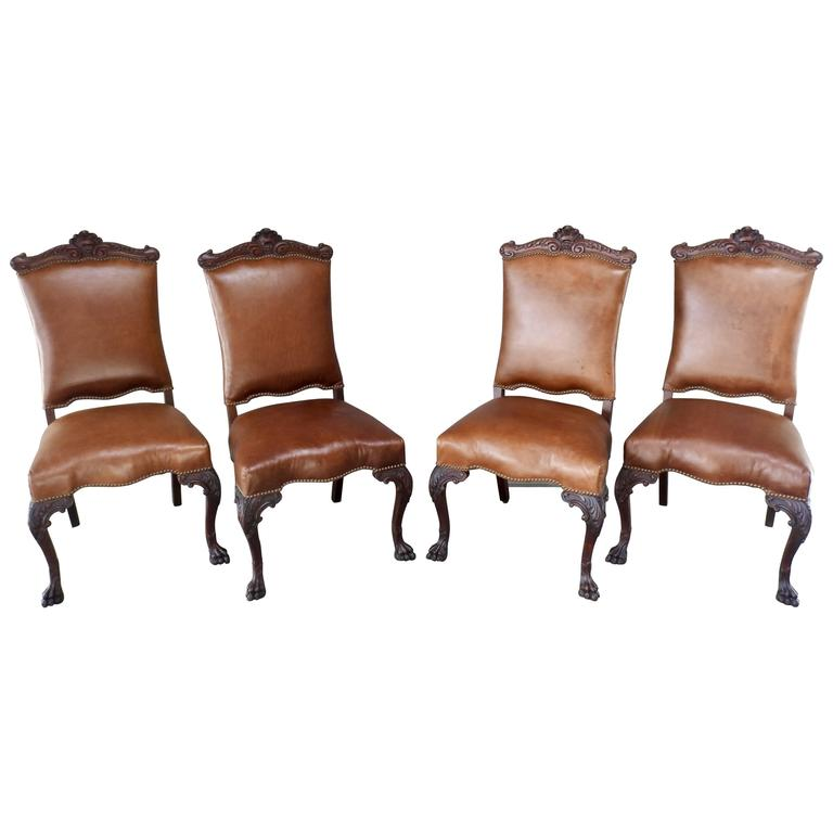 Set of Four American Hairy Paw Chairs with Leather Early 19th Century