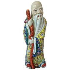 """Porcelain Statue of """"Shou"""" God of Longevity, circa 1940s"""