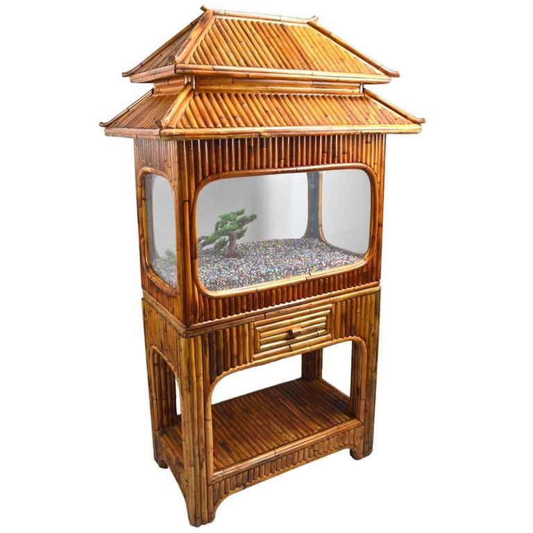 Bamboo Aquarium Tiki Hut Style At 1stdibs