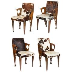 Set of Four French Metal Chairs in the Manner of Jean Prouve