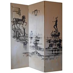 Italian Folding Screen Signed by Leo Lentelli