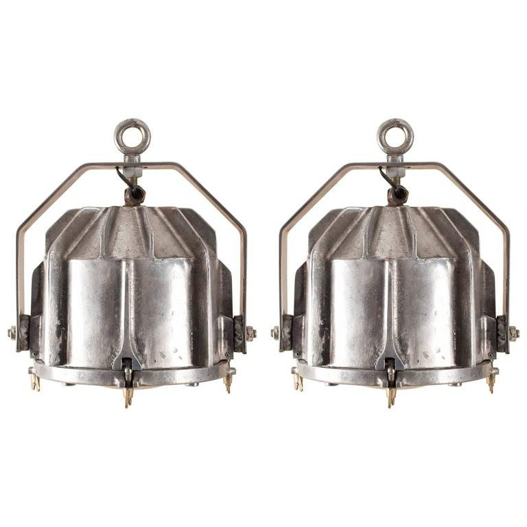 Pair of Aluminum Industrial Pendant Lights