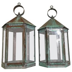 Elegant Pair of Hanging Candle Garden Lanterns