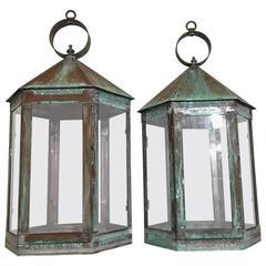 Elegant Pair of Hanging Candle Garden Lanterns