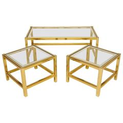 Retro Italian Chromed Nesting Coffee Table or Side Tables Vintage, 1970s