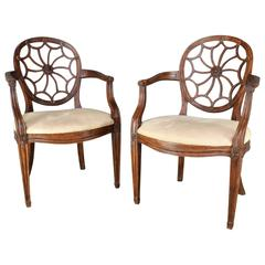 Pair of Early 20th Century Spider Back Hepplewhite Chairs