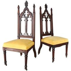 Pair of 19th Century High Back Gothic Chairs
