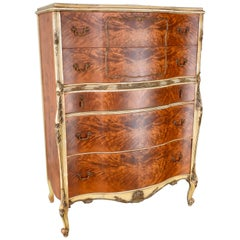 French Satinwood Chest on Chest Early 20th Century
