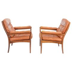 "Pair of ""Carmen"" Easy Chairs by Gote Møbler, Nässjö Sweden, circa 1970s"