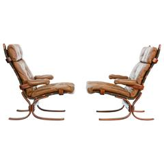 High-Back Sling Club Chairs After Ingmar Rellings with Suspension Frames & Arms