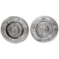 Two Large Art Nouveau Cast Iron Zodiac Wall plates