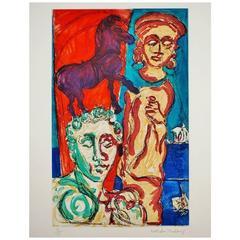 Malcolm Morley Print Trojan Calvacade from Odysseys of Enoch Suite, 1986