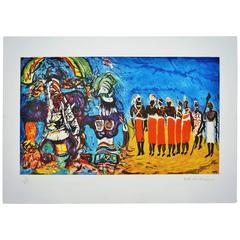Malcolm Morley Print Kachina and Masai Ritual, Odysseys of Enoch Suite, 1986