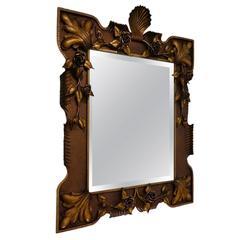 Italian Floral Gilded Tole Mirror, Neoclassical, circa 1940s
