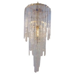 Mazzega Carlo Nason style chandelier Murano vaseline glass gilt frame