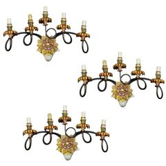 Set of Three Lacquered Wrought Iron Sconces with Five Lights