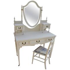 Edwardian Hand-Painted Five-Drawer Dressing Table and Chair
