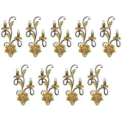 Set of Nine Lacquered Wrought Iron Sconces with Two Lights