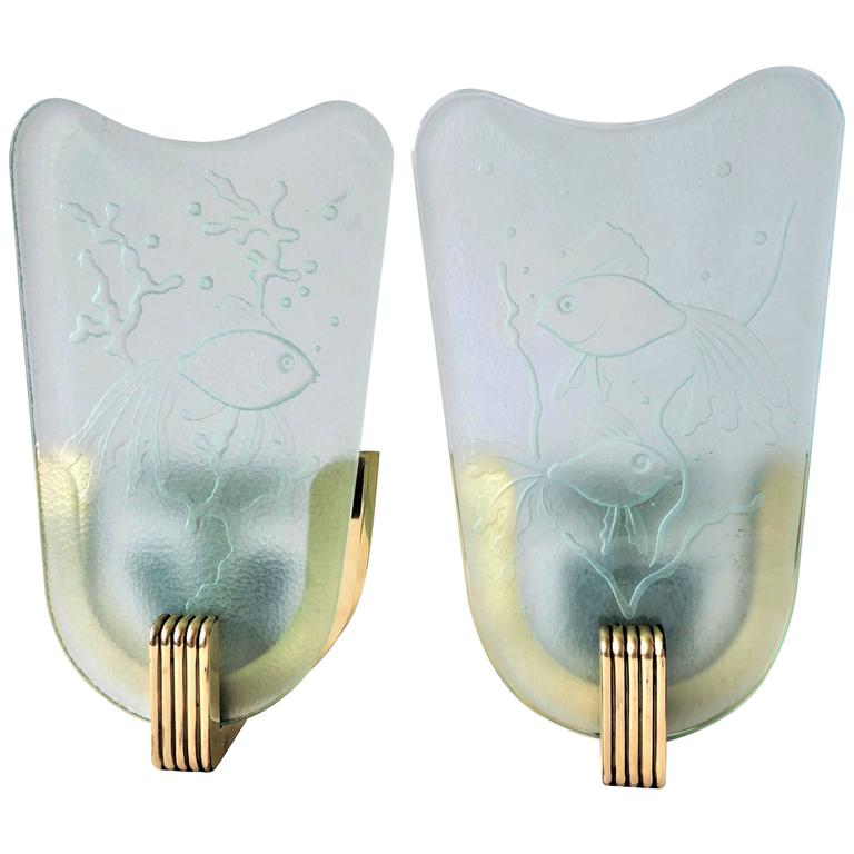 Pair of Art Deco Wall Sconces in Brass and Clear Frosted Glass with Fish, 1930s