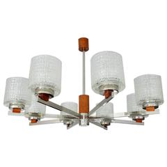 Large Danish Modern MidCentury Chrome Glass Teak Kaiser Chandelier Pendant Light