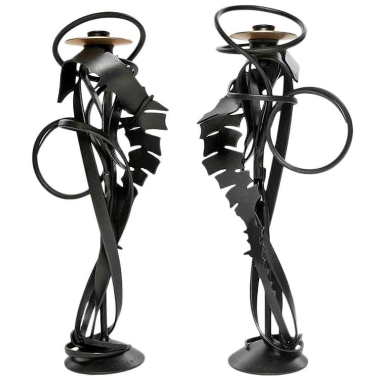 "Pair of Albert Paley ""Double Shear Candleholders"", Steel and Bronze, 2014 1"
