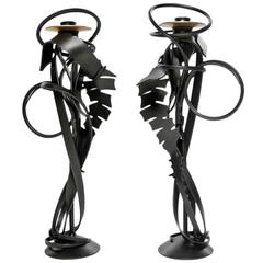 "Pair of Albert Paley ""Double Shear Candleholders"", Steel and Bronze, 2014"