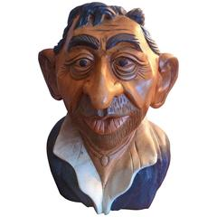 Sculpture Bust of French Cult Idol Serge Gainsbourg, Massif Wood, France
