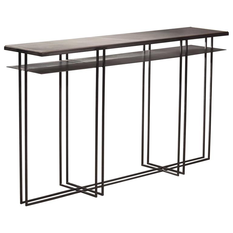 Superieur Cross Binate Art Deco Minimal Metal Console Table With Slate And Brass For  Sale
