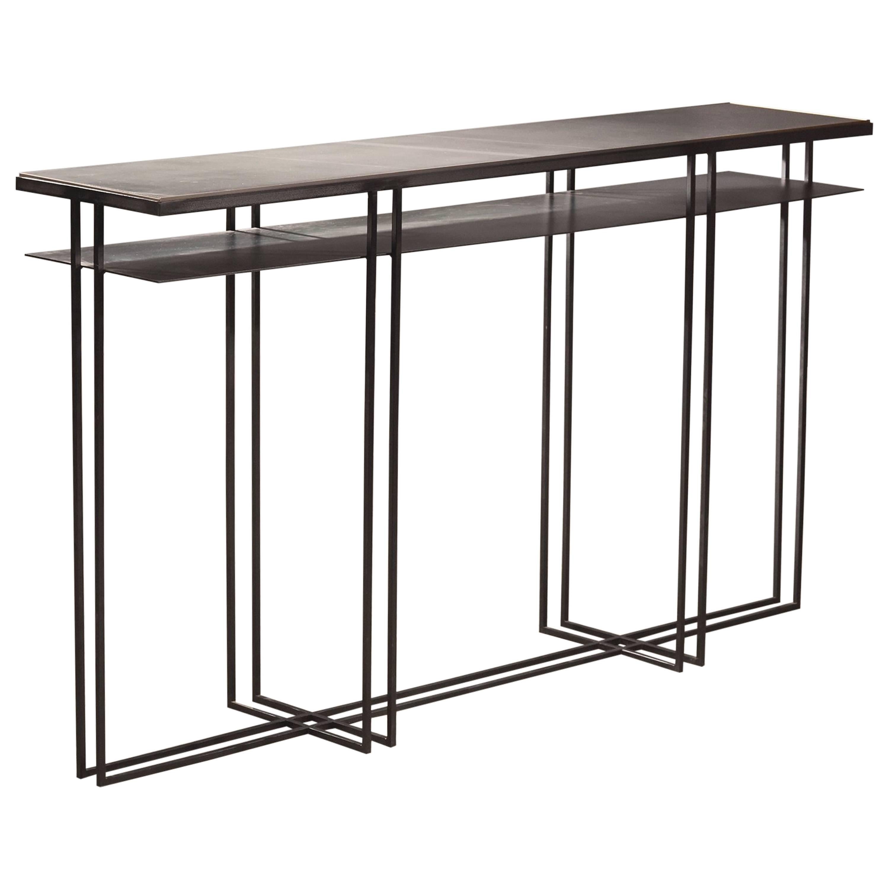 Large Cross Binate Art Deco Minimal Metal Console Table with Slate and Brass