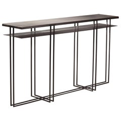 Cross Binate Art Deco Minimal Metal Console Table with Slate and Brass