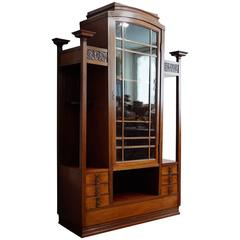 Early 20th Century Art Nouveau Display Cabinet with Drawers and Pilars for Vases