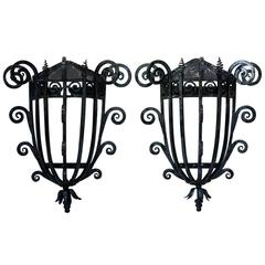 Large Pair of French 1930s Iron Sconces