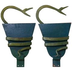 Pair of Green and Gold Serpent Sconces, France, circa 1940s