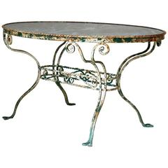 French 1920s Oval Wrought-Iron and Marble Table