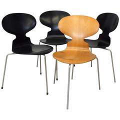 Set of Four Arne Jacobsen for Fritz Hansen Three-Leg Ant Chairs