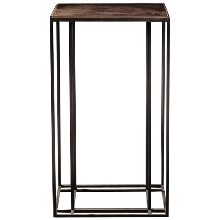 Loft Binate Minimal Art Deco Occasional Table in Blackened Steel and Brass For Sale
