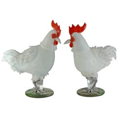 Luciano Ferro for Avem, 1958-62, Two Large White Roosters