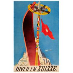 "Original Vintage Swiss Railways Winter Sport and Skiing Poster ""Hiver En Suisse"""