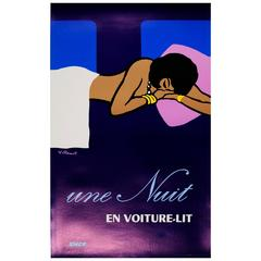 Original Vintage Sncf Railway Travel Advertising Poster, Une Nuit En Voiture-Lit
