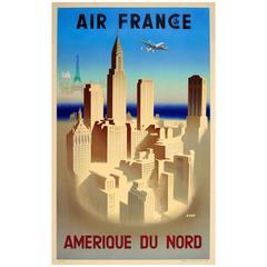 Original Vintage Air France Travel Poster Advertising America, Amerique Du Nord