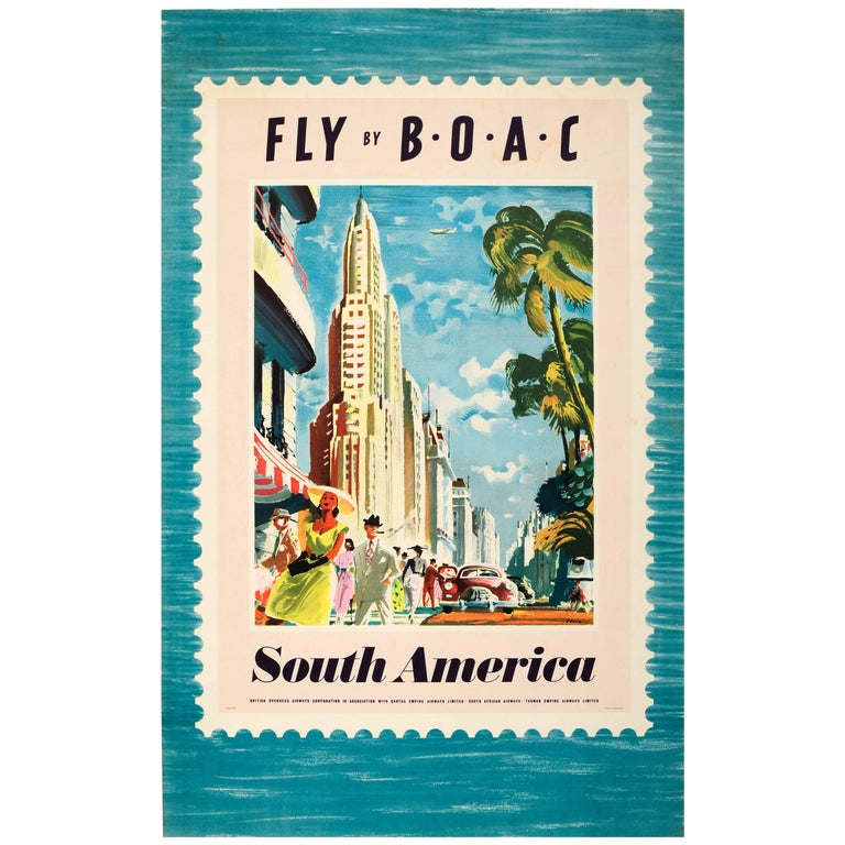 """Original Vintage Travel Advertising Poster, """"Fly by BOAC, South America"""" For Sale"""