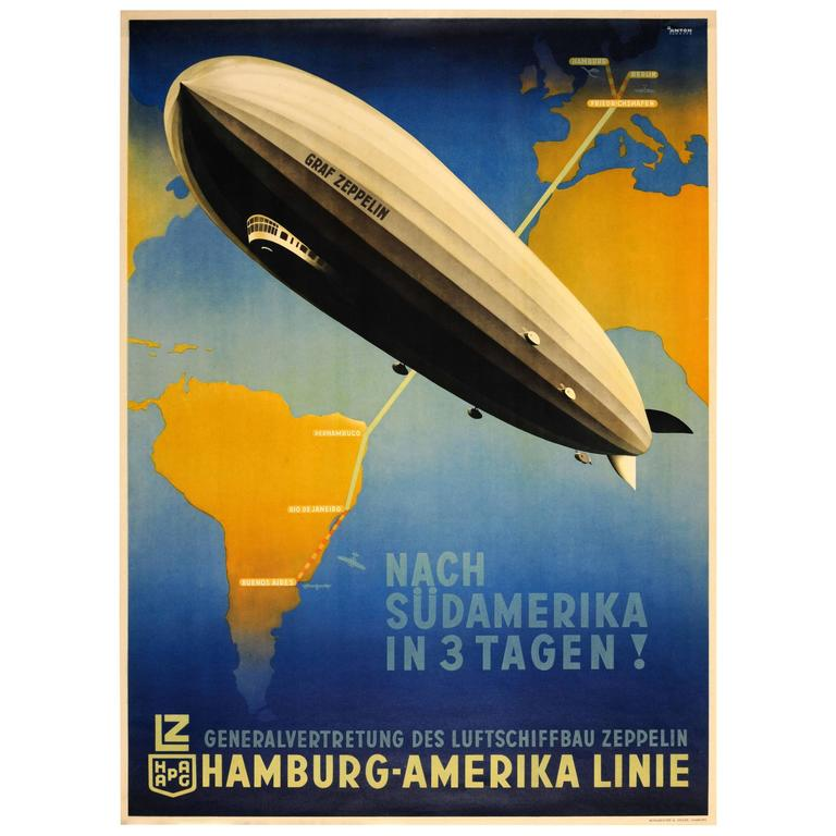 "Original Hamburg America Line Poster ""Graf Zeppelin to South America in 3 Days!"""