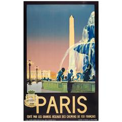 Original Vintage Chemins De Fer French Railway Travel Advertising Poster, Paris