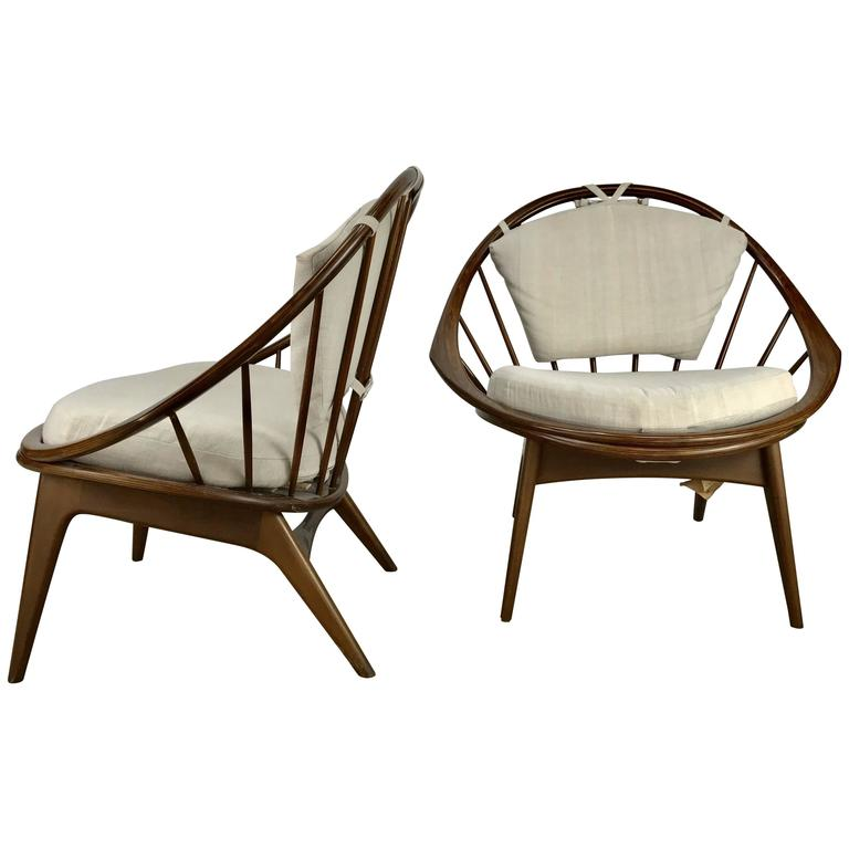 Classic Pair of Danish Modernist 'Hoop' Chairs by Ib Kofod-Larsen for Selig