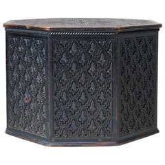 Intricately Carved Octagonal Ebonized Wood Table, circa 1900s