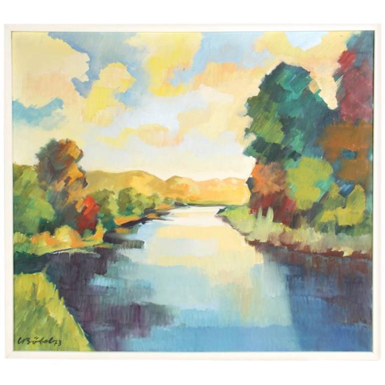 Mid-Century Oil Painting of the River