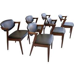 Set of Six Kai Kristiansen Mid-Century Modern Chairs Model 42 in Rosewood